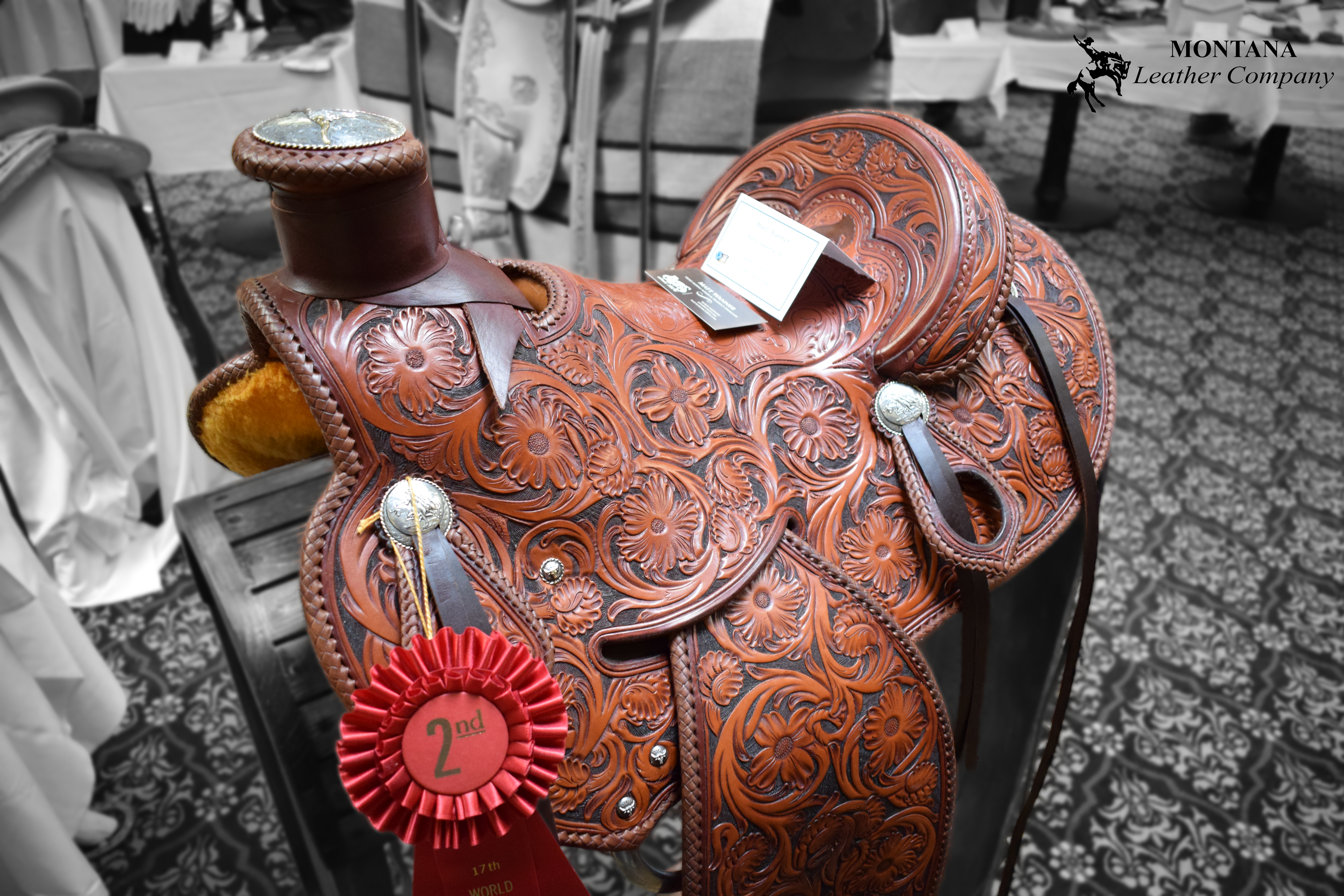 carved saddle, brown saddle