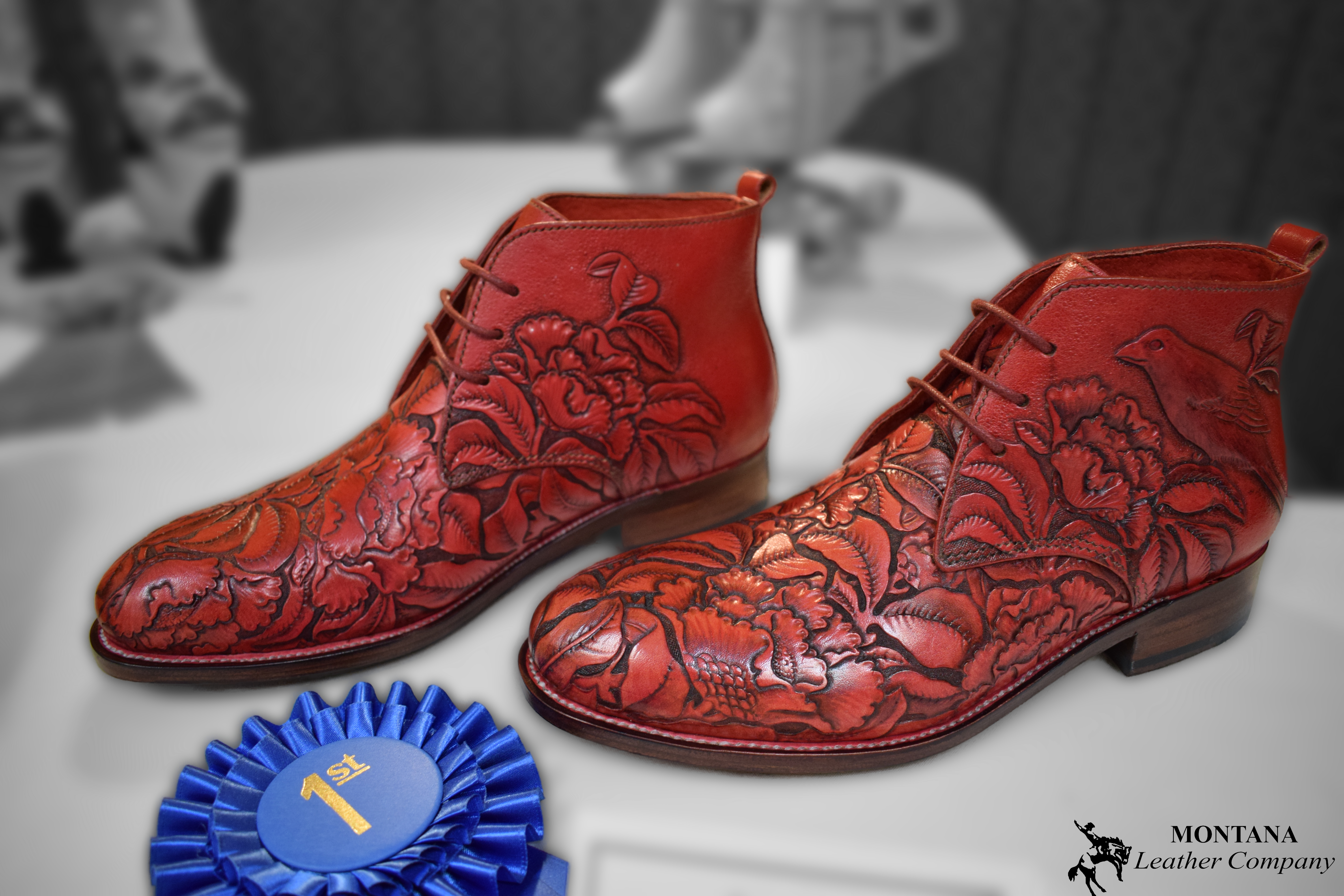 leather boots, leather shoes, tooled leather