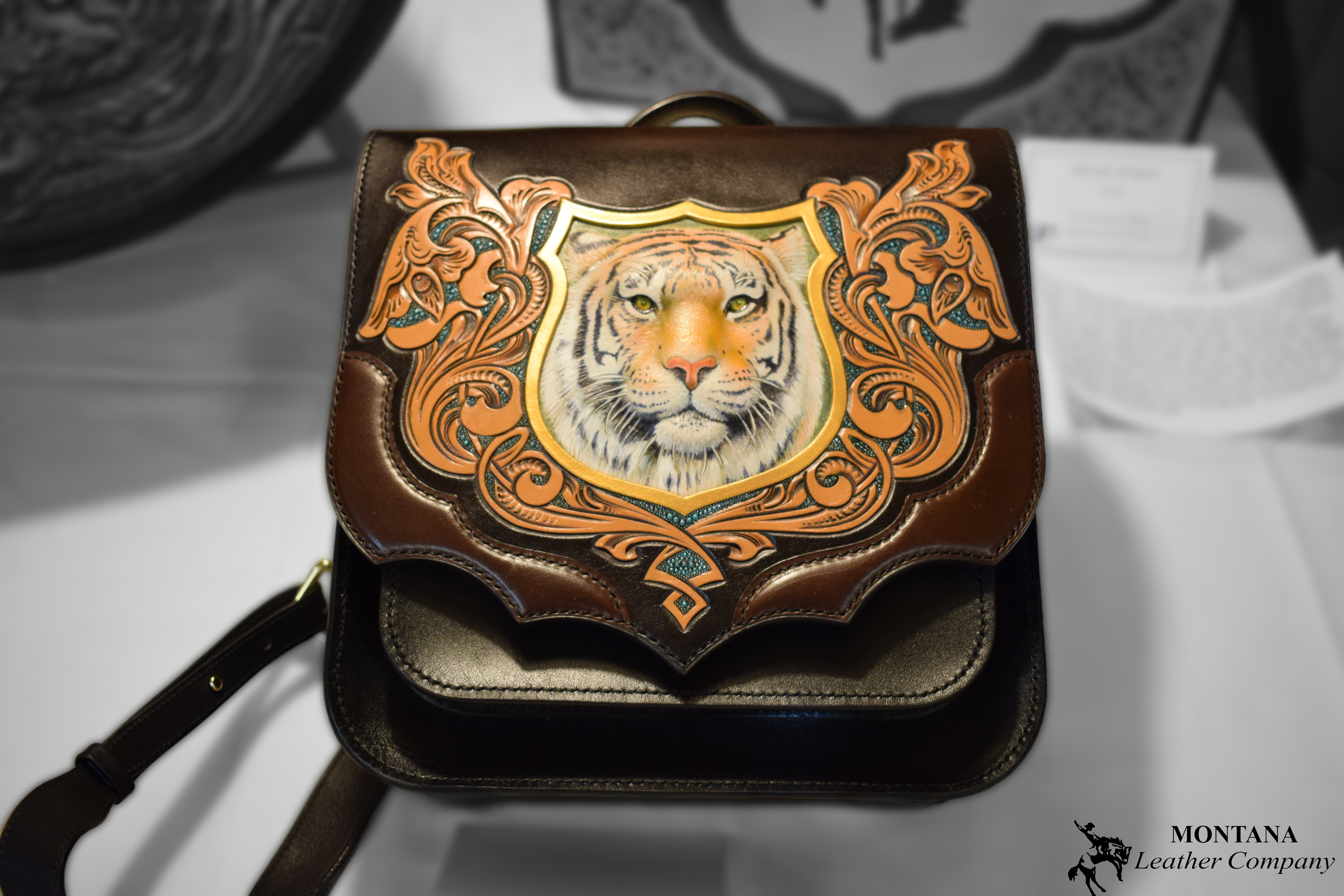 leather bag, tooled bag, tiger bag