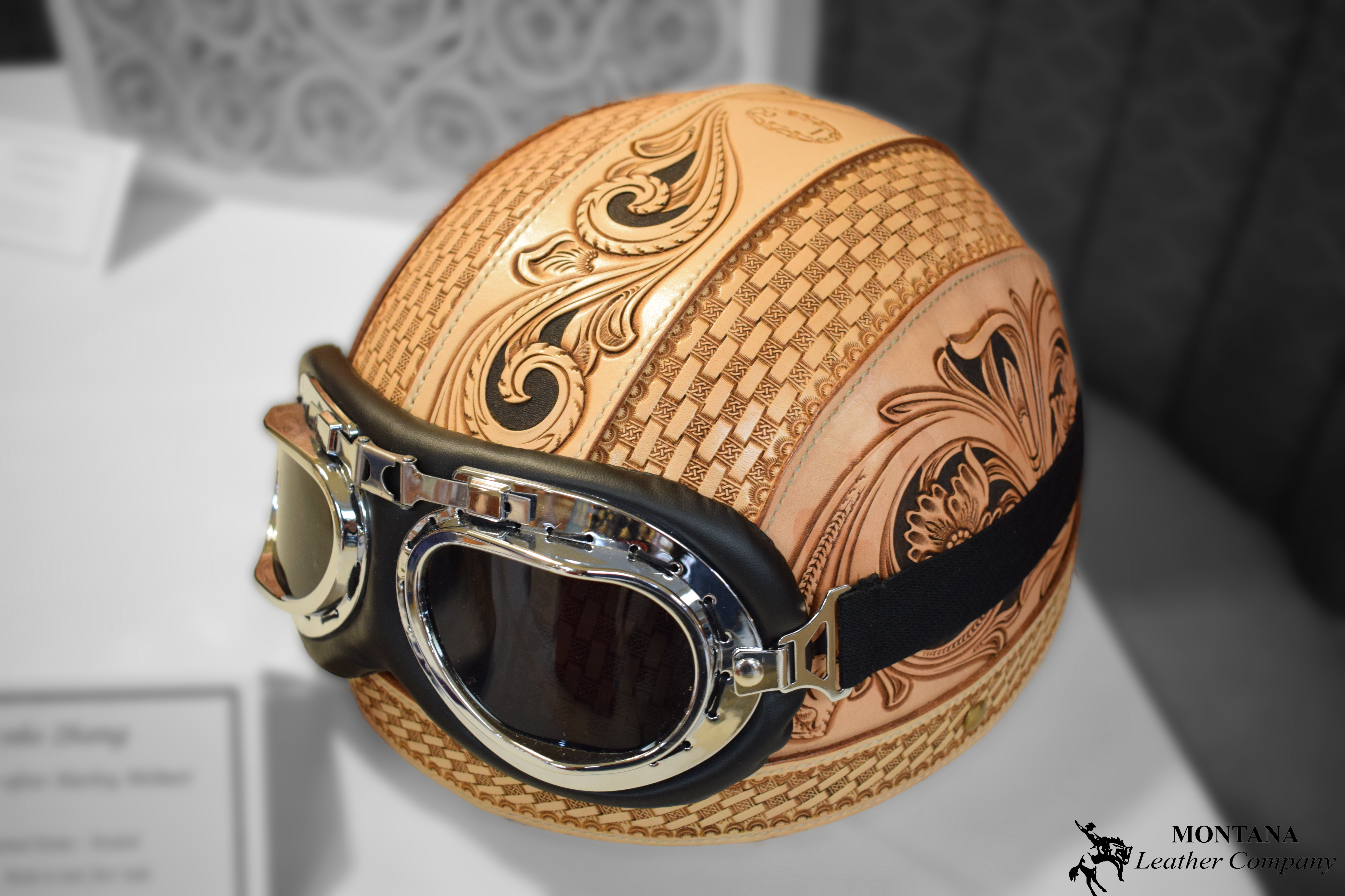 leather helmet, biker helmet