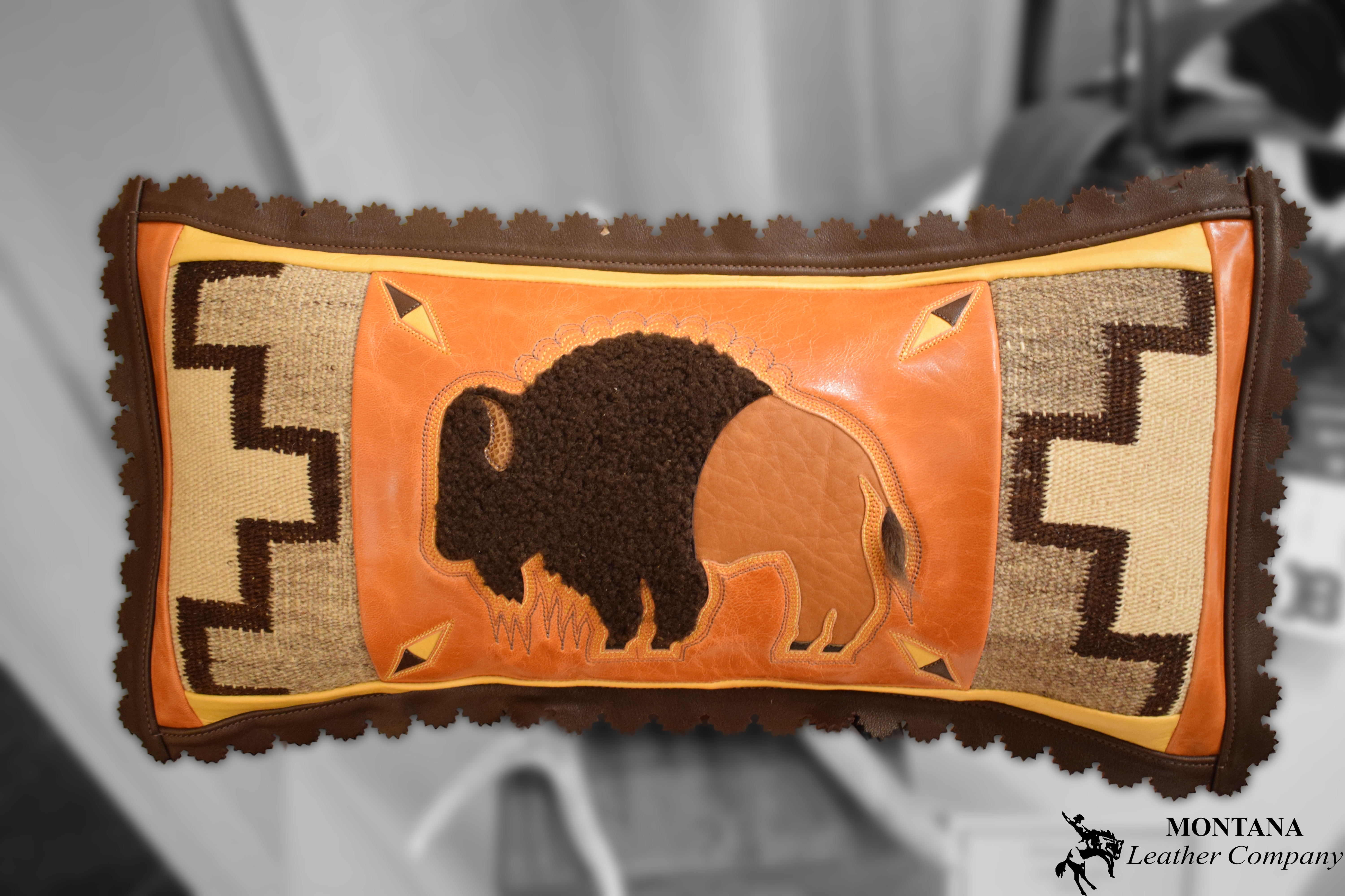 buffalo pillow, leather pillow, buffalo hair