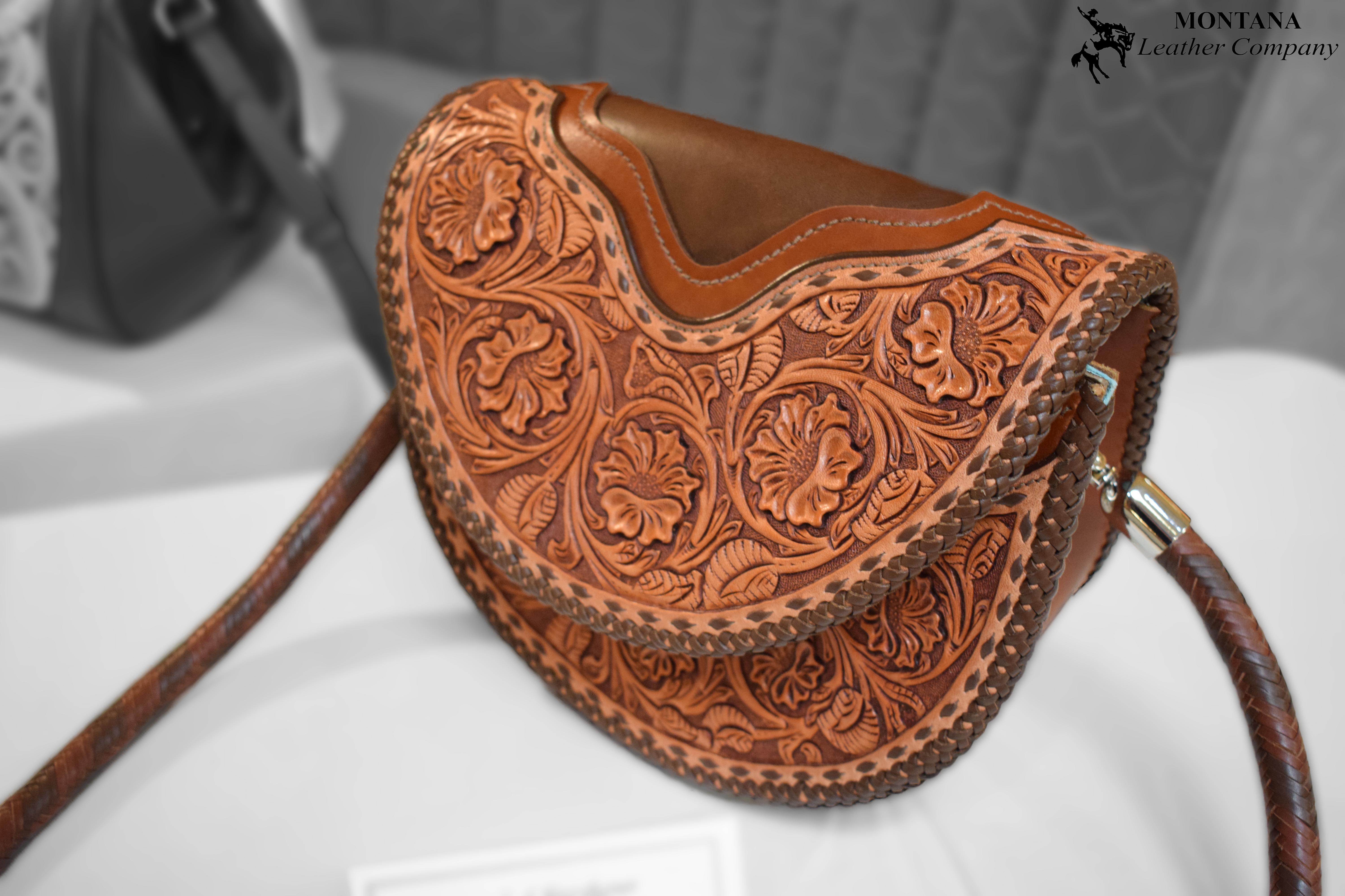 leather bag, tooled purse, veg tan bag