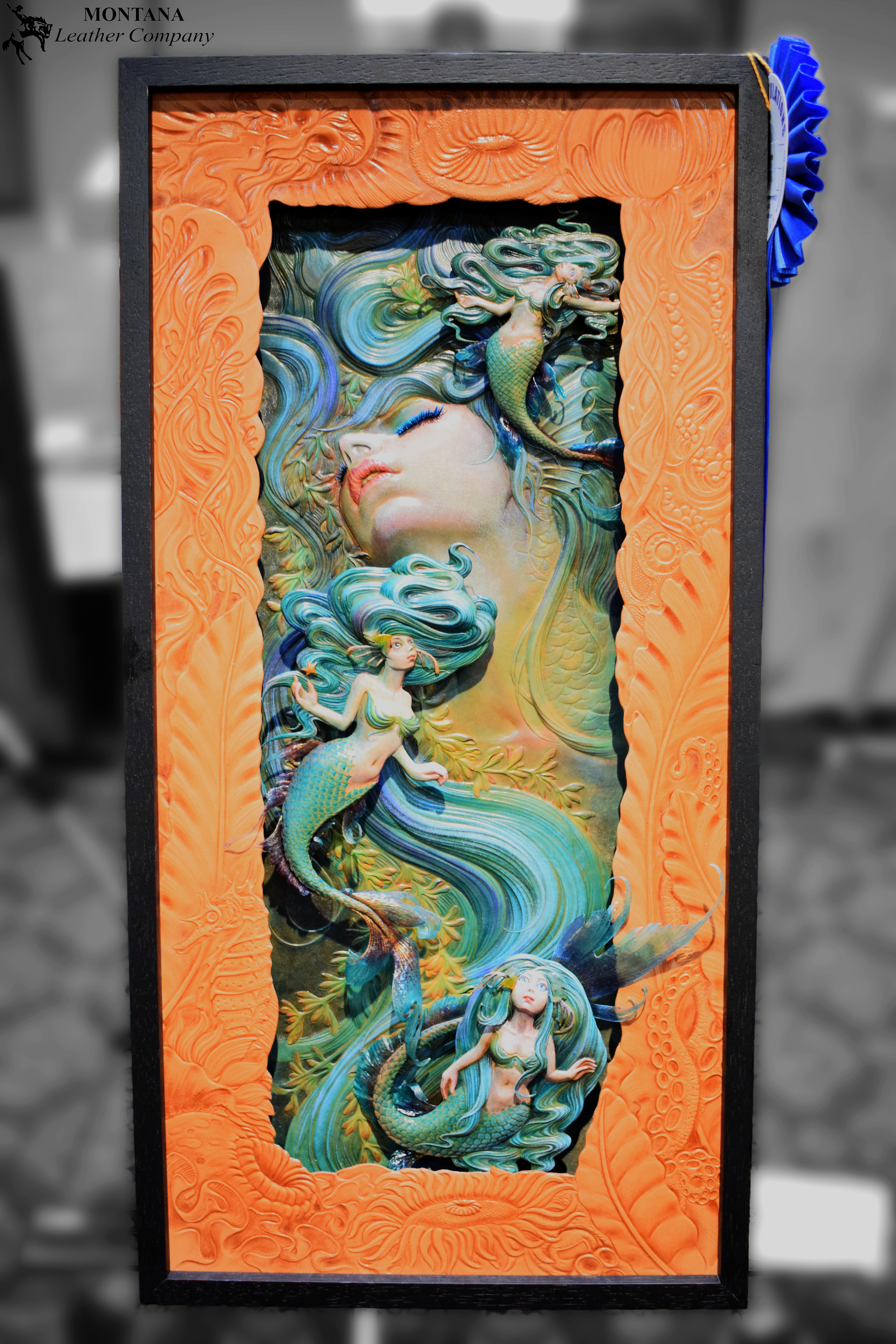 mermaid artwork, leather art